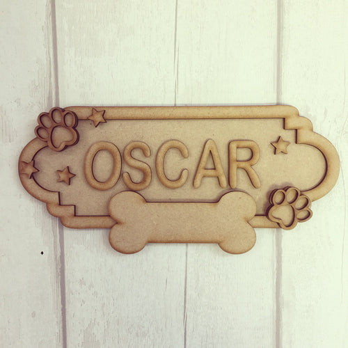 SS006 - MDF Dog Theme Personalised Street Sign - Small (6 letters)