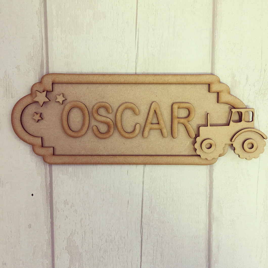 SS046 - MDF Tractor Personalised Street Sign - Large (12 letters) - Olifantjie - Wooden - MDF - Lasercut - Blank - Craft - Kit - Mixed Media - UK
