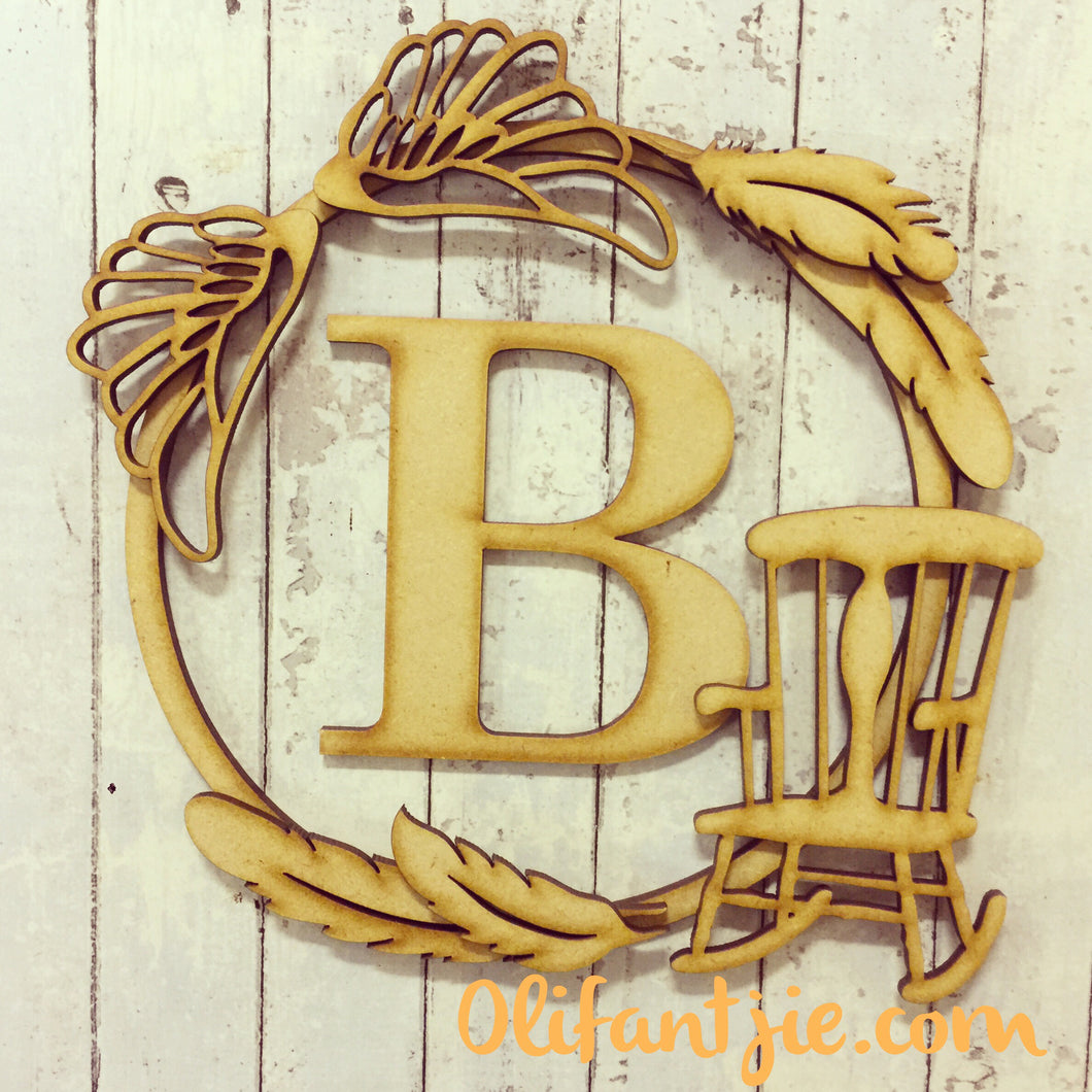 W011 - MDF Chair, Wings & Feather - Initial Wreath - Olifantjie - Wooden - MDF - Lasercut - Blank - Craft - Kit - Mixed Media - UK