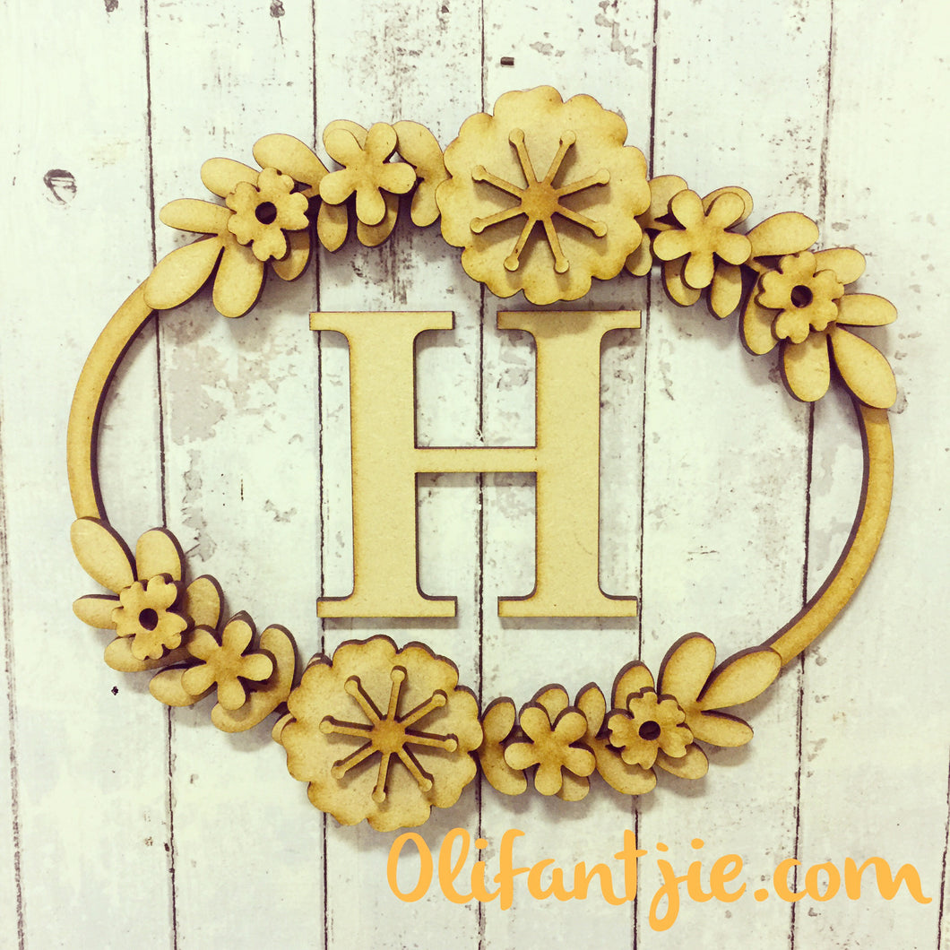 W012 - MDF Oval Initial Wreath - with Retro Flowers