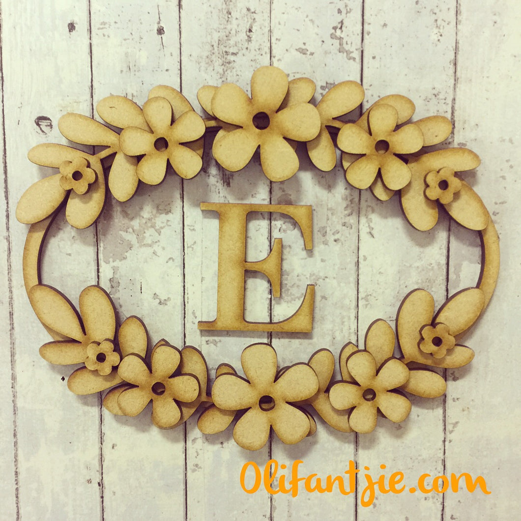 W013 - MDF Oval Initial Wreath - with Petal Flowers