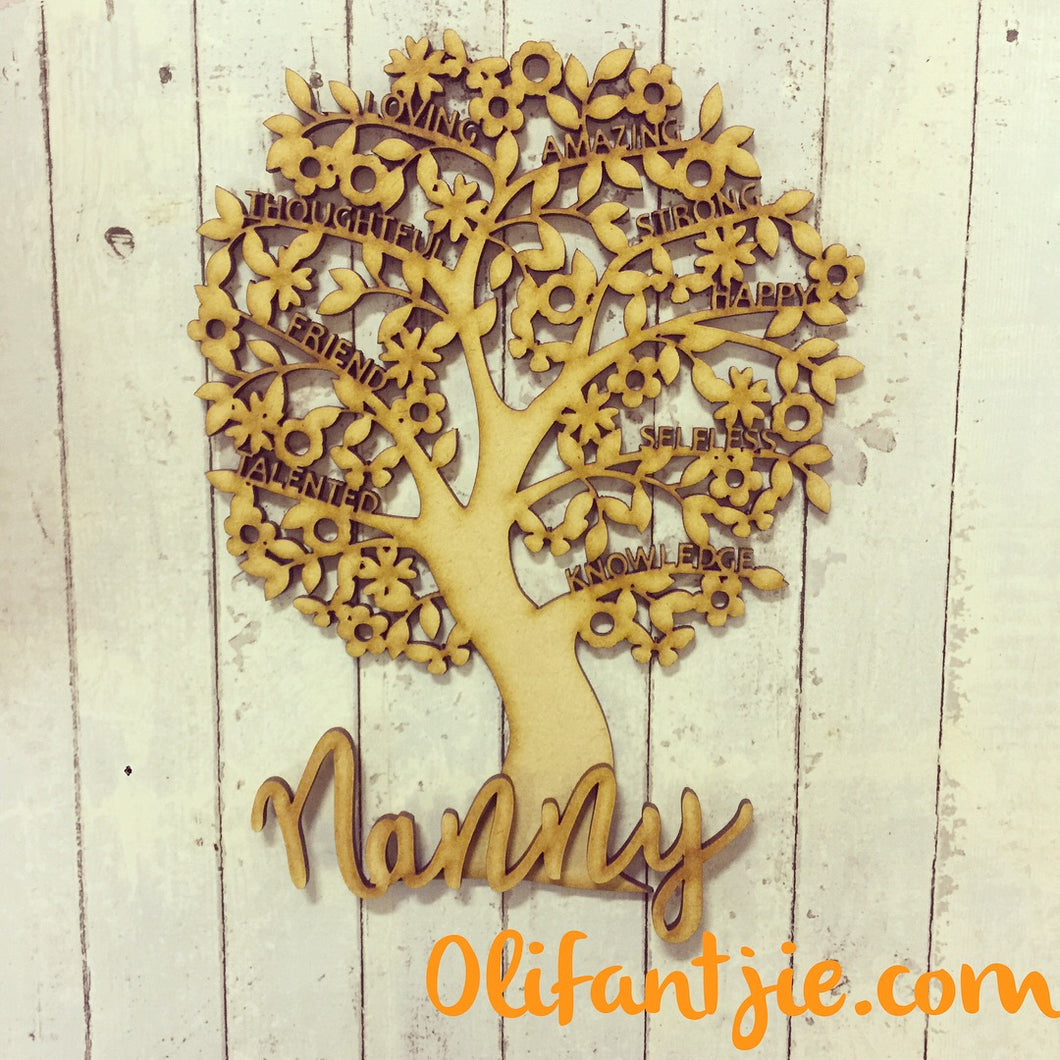 OL225 - MDF Tree Filled with Inspirational Words with Separate Wording (choice of word for base)