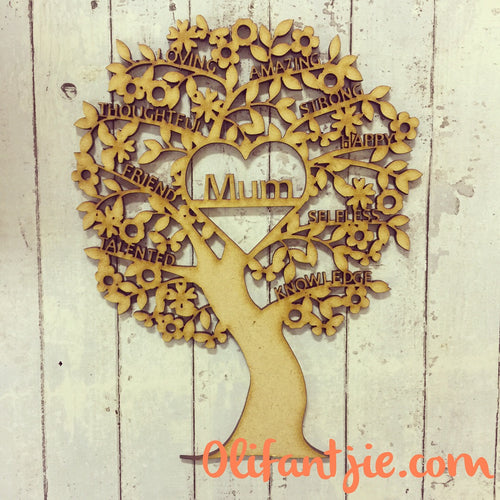 OL224 - MDF Tree Filled with Inspirational Words & Heart with Wording (choice of word for heart)