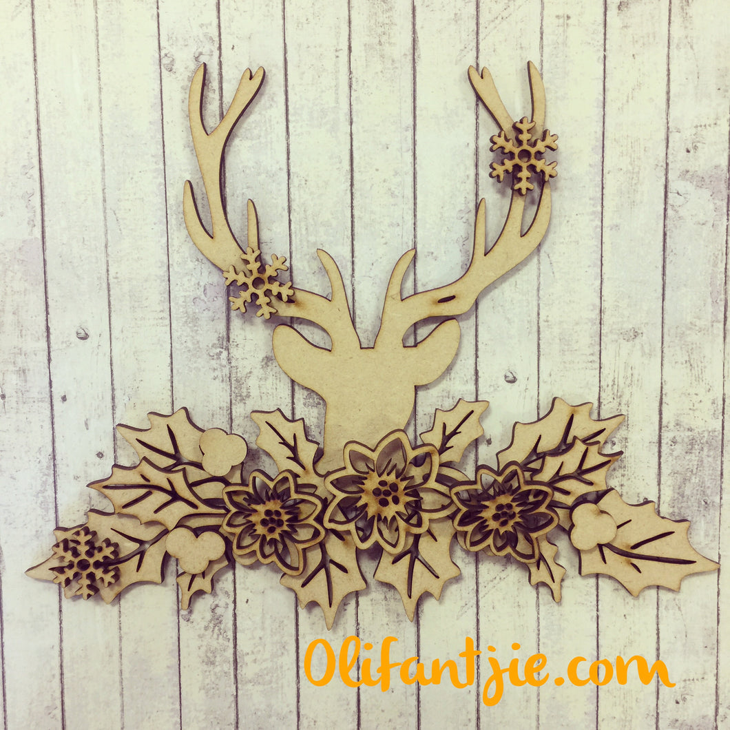 CH027 - MDF Reindeer Head with Holly & Poinsettia - Olifantjie - Wooden - MDF - Lasercut - Blank - Craft - Kit - Mixed Media - UK
