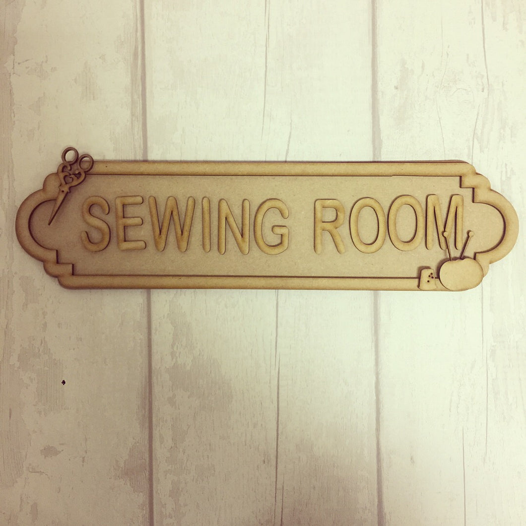 SS020 - MDF Sewing Theme Personalised Street Sign - Large  (12 letters)