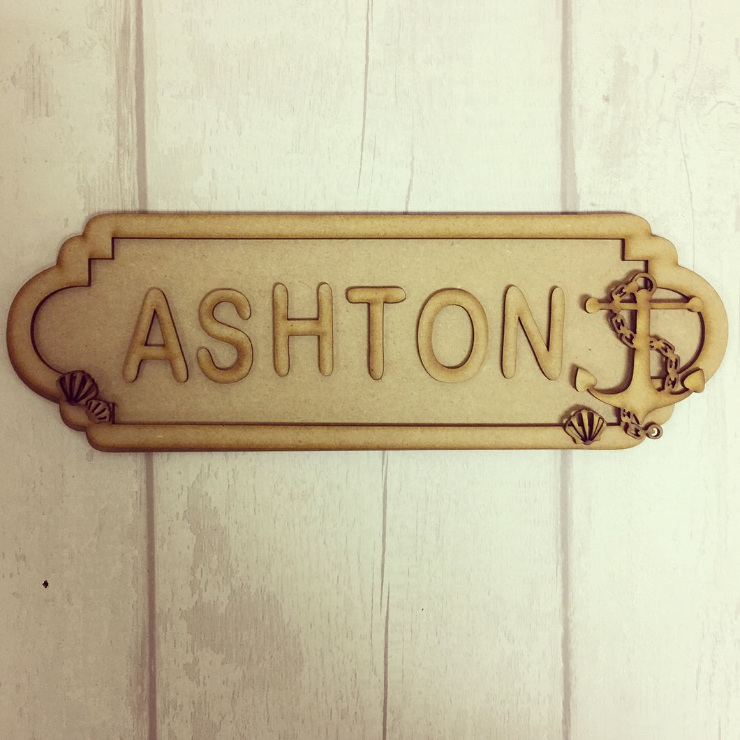 SS001 - MDF Anchor Nautical Theme Personalised Street Sign - Small (6 letters)