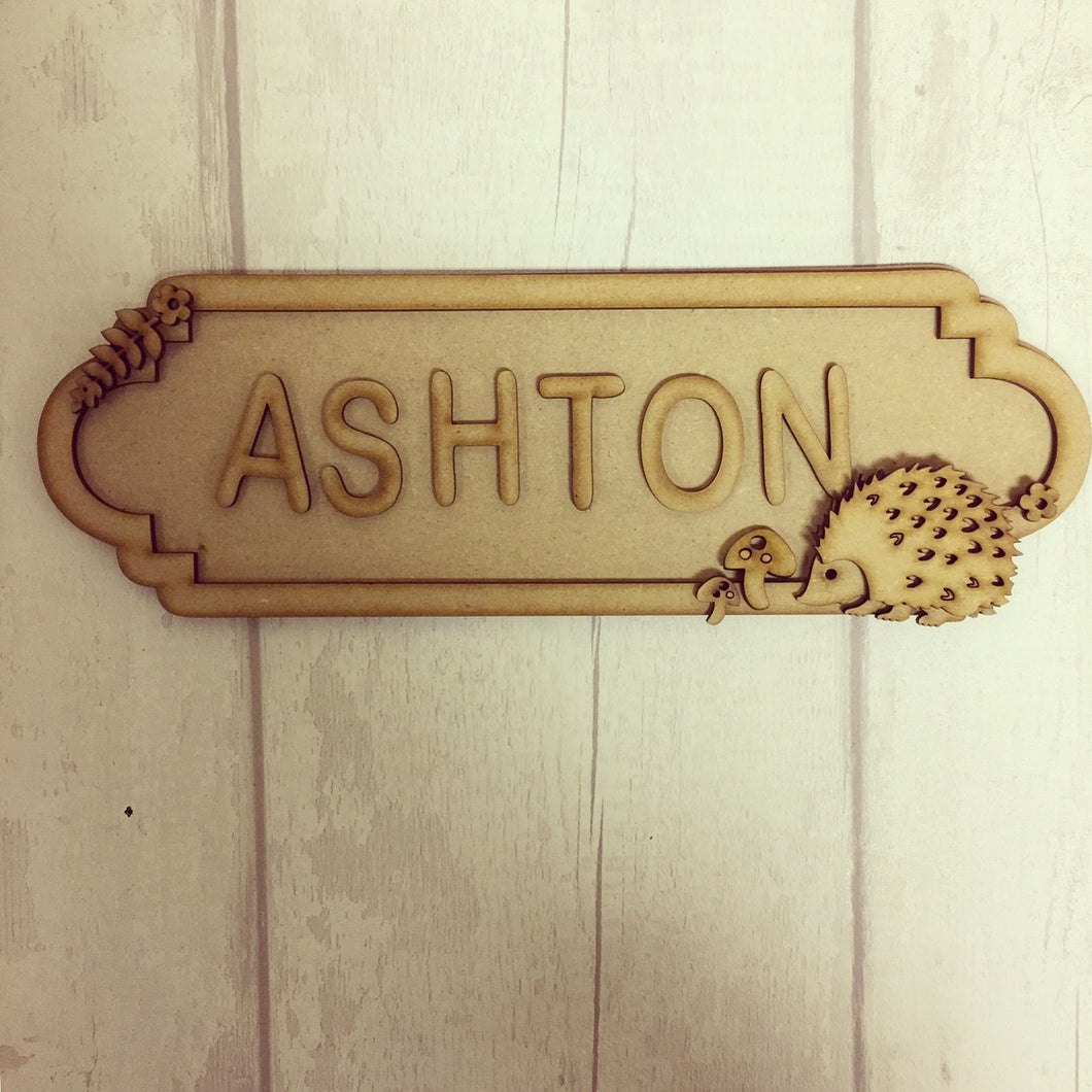 SS012 - MDF Hedgehog Theme Personalised Street Sign - Small (6 letters) - Olifantjie - Wooden - MDF - Lasercut - Blank - Craft - Kit - Mixed Media - UK