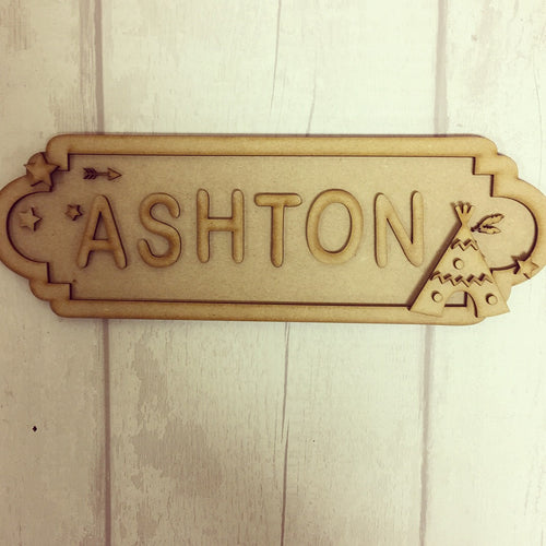 SS044 - MDF Teepee Boho Theme Personalised Street Sign - Small  (6 letters)