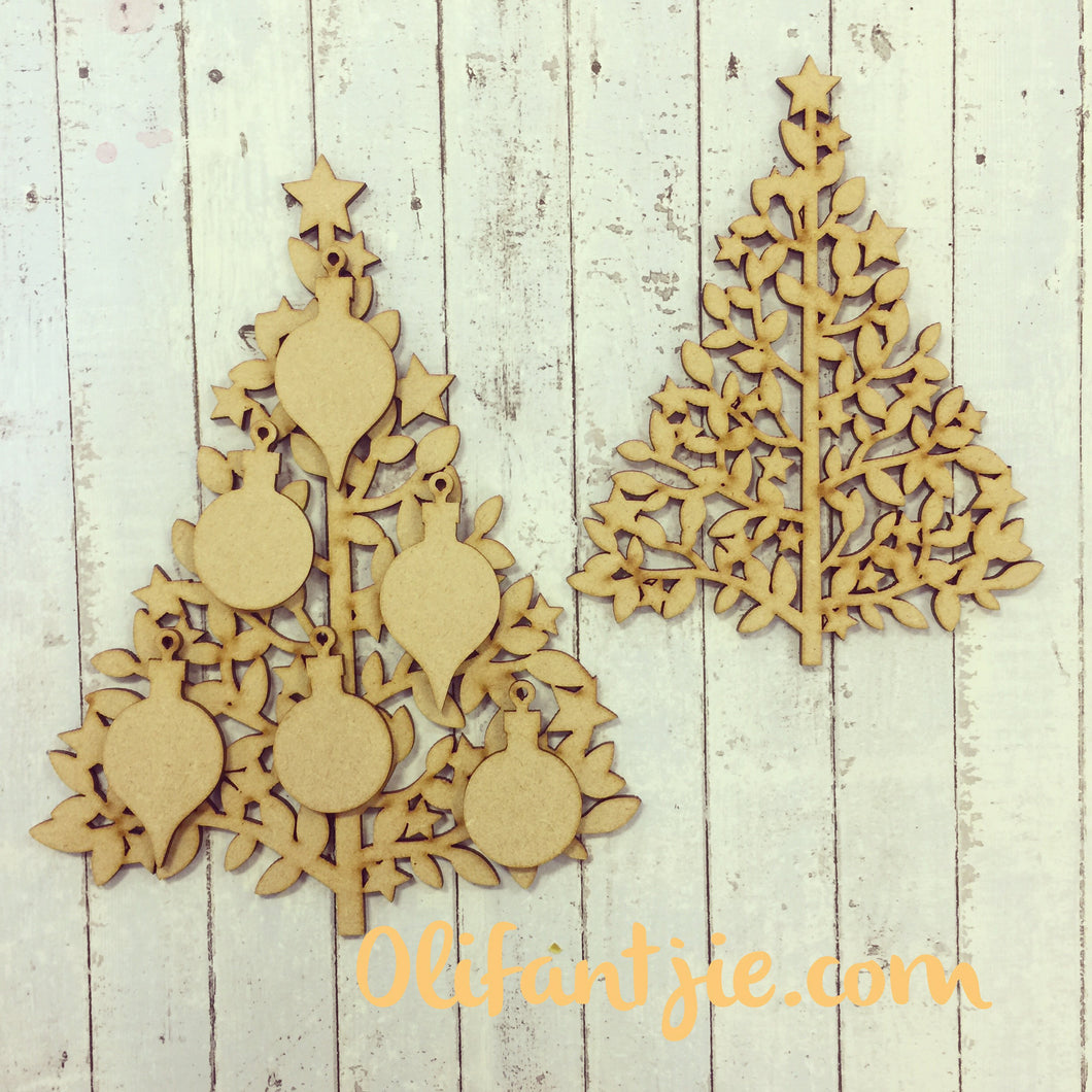 CH005 - MDF Christmas Family Tree with Baubles - Olifantjie - Wooden - MDF - Lasercut - Blank - Craft - Kit - Mixed Media - UK