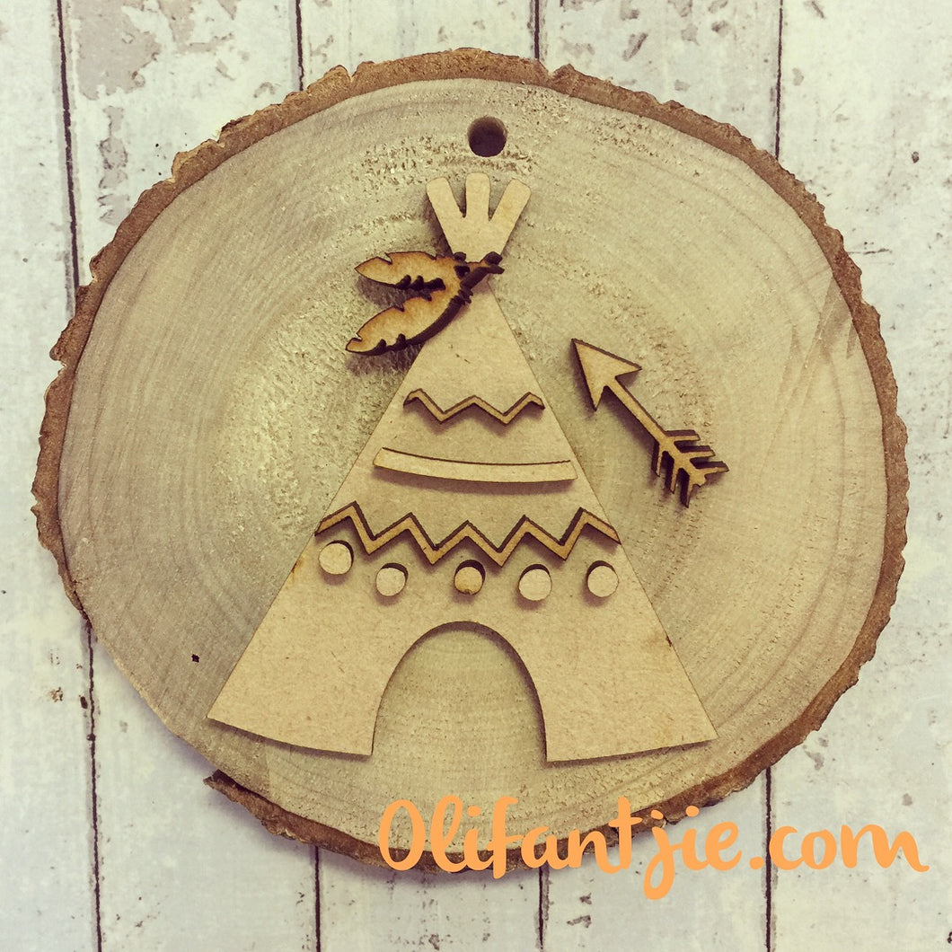 OL044 - MDF Circles and Stripes Teepee - with Natural Wood Slice - Olifantjie - Wooden - MDF - Lasercut - Blank - Craft - Kit - Mixed Media - UK