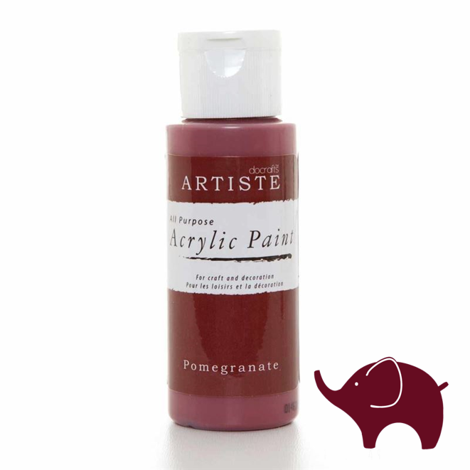 Pomegranate - Artiste Acrylic Paint 2oz - Olifantjie - Wooden - MDF - Lasercut - Blank - Craft - Kit - Mixed Media - UK