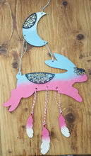 SJ038 - MDF Bunny Hare Moon & Stars Dream Catcher / Hanging
