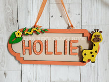 SS024 - MDF Giraffe Theme Personalised Street Sign - Medium (8 letters)