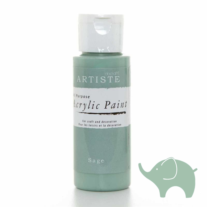 Sage - Artiste Acrylic Paint 2oz - Olifantjie - Wooden - MDF - Lasercut - Blank - Craft - Kit - Mixed Media - UK