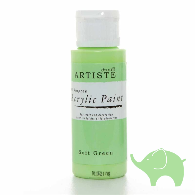 Soft Green - Artiste Acrylic Paint 2oz - Olifantjie - Wooden - MDF - Lasercut - Blank - Craft - Kit - Mixed Media - UK
