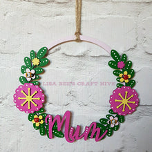 W008 - MDF Simple Floral Wreath - with Initial - Olifantjie - Wooden - MDF - Lasercut - Blank - Craft - Kit - Mixed Media - UK