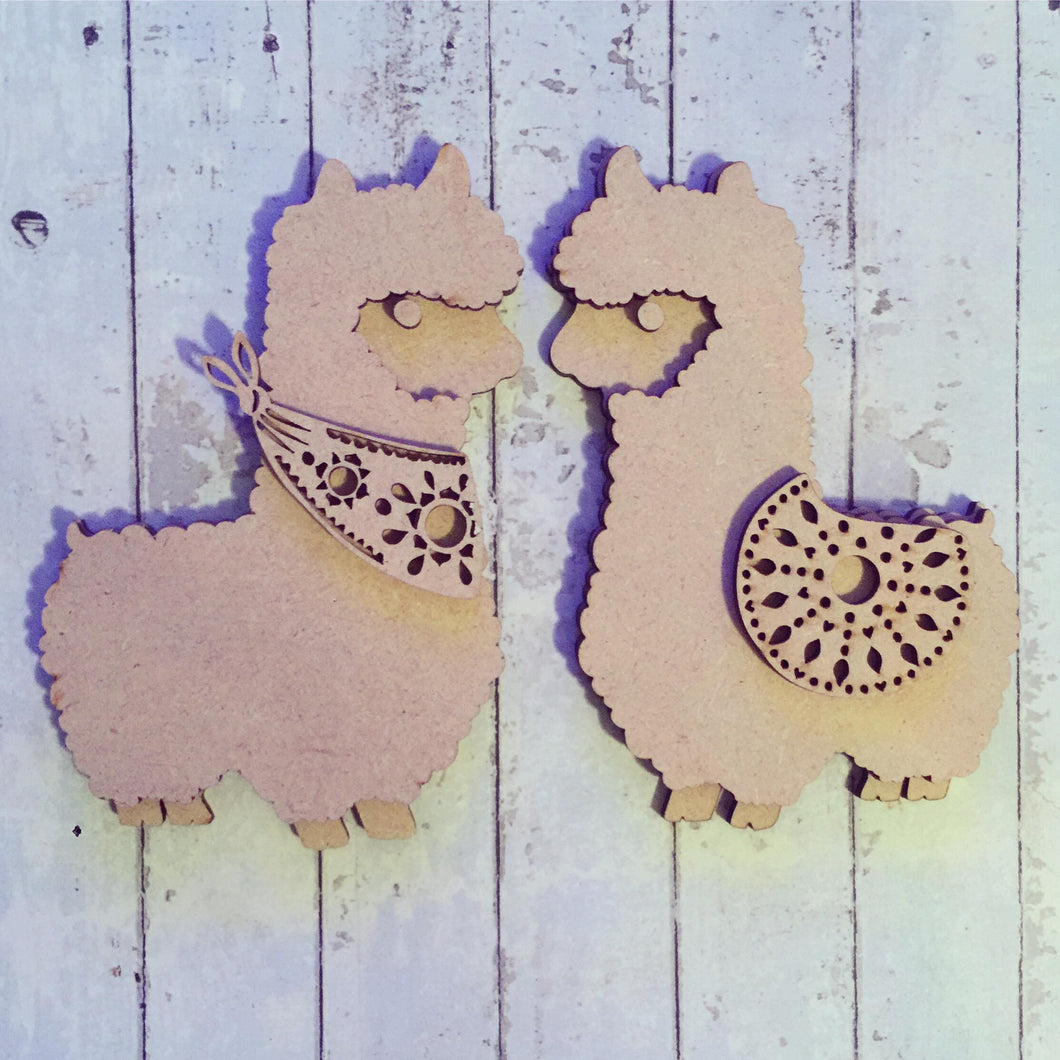 SJ027 Cute Alpacas / Llamas Set of 2 MDF Blanks - Sarah Jane design - Olifantjie - Wooden - MDF - Lasercut - Blank - Craft - Kit - Mixed Media - UK