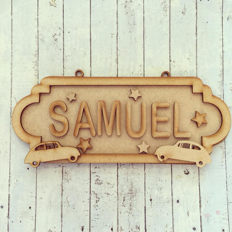 SS052 - MDF Cars Personalised Street Sign - Small (6 letters) - Olifantjie - Wooden - MDF - Lasercut - Blank - Craft - Kit - Mixed Media - UK