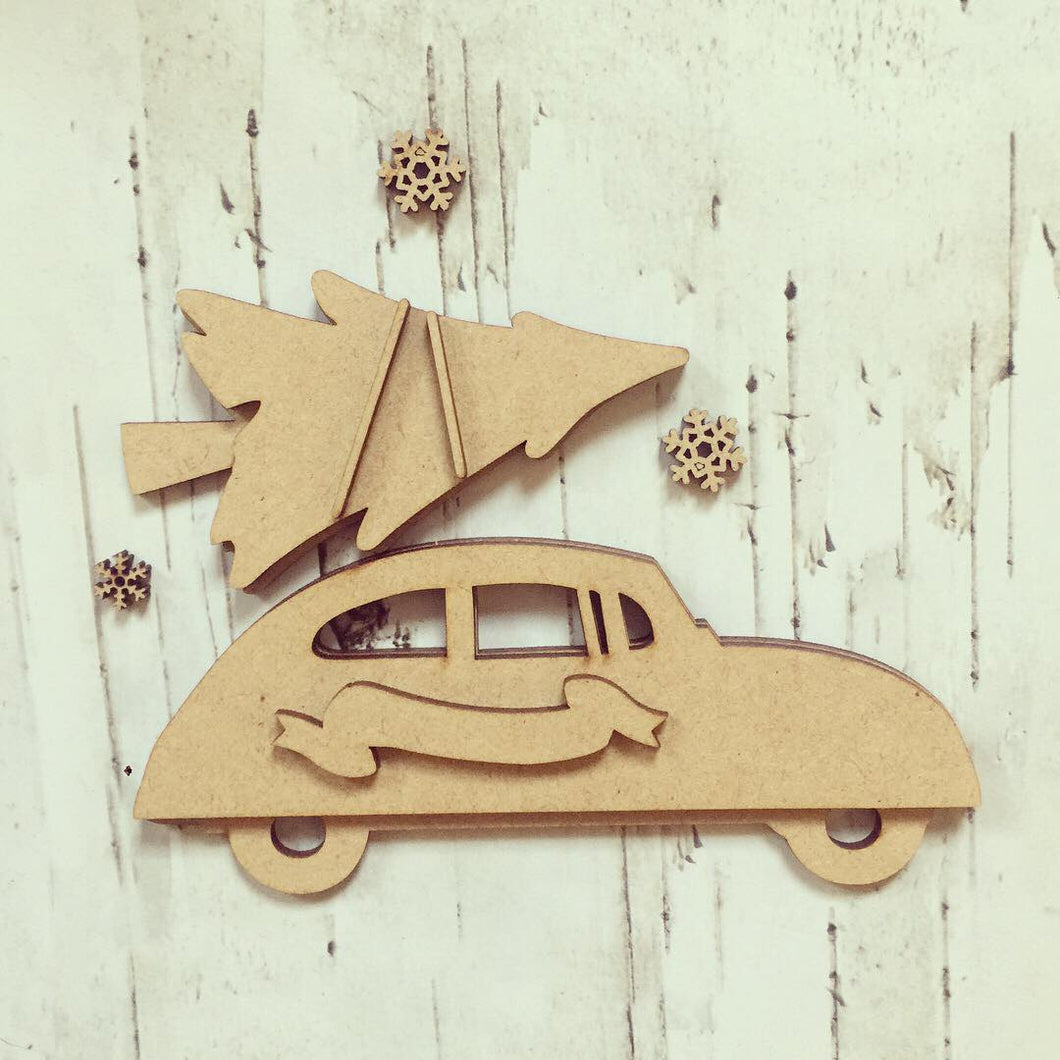 CH057 - MDF Car with Christmas Tree - Olifantjie - Wooden - MDF - Lasercut - Blank - Craft - Kit - Mixed Media - UK