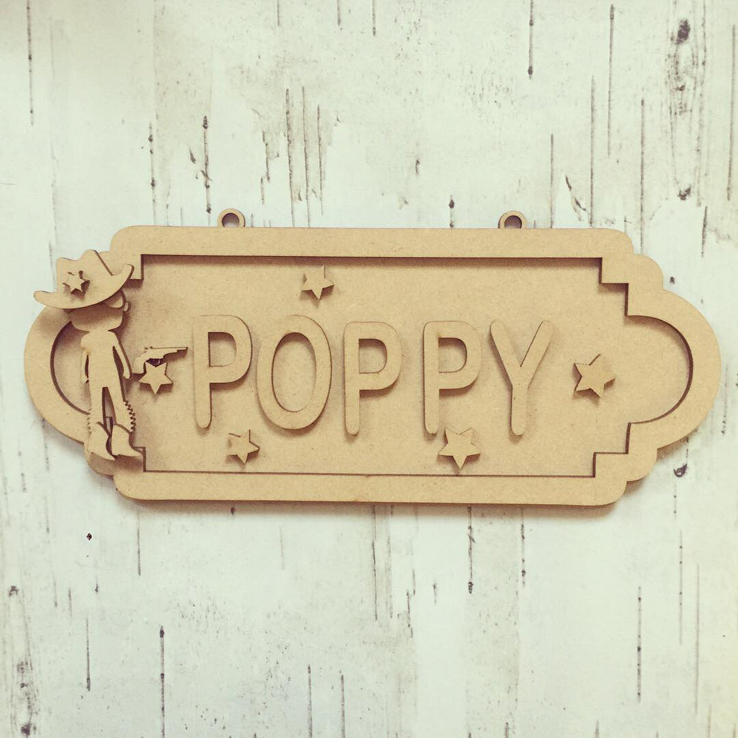 SS058 - MDF Cowboy Theme Personalised Street Sign - Large (12 letters)