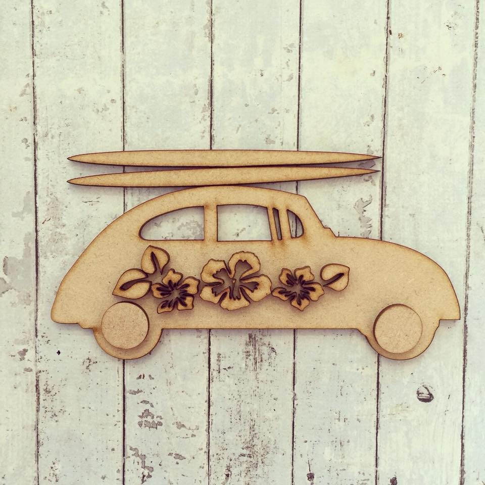 OL243 - MDF Flower Surf Car - Olifantjie - Wooden - MDF - Lasercut - Blank - Craft - Kit - Mixed Media - UK