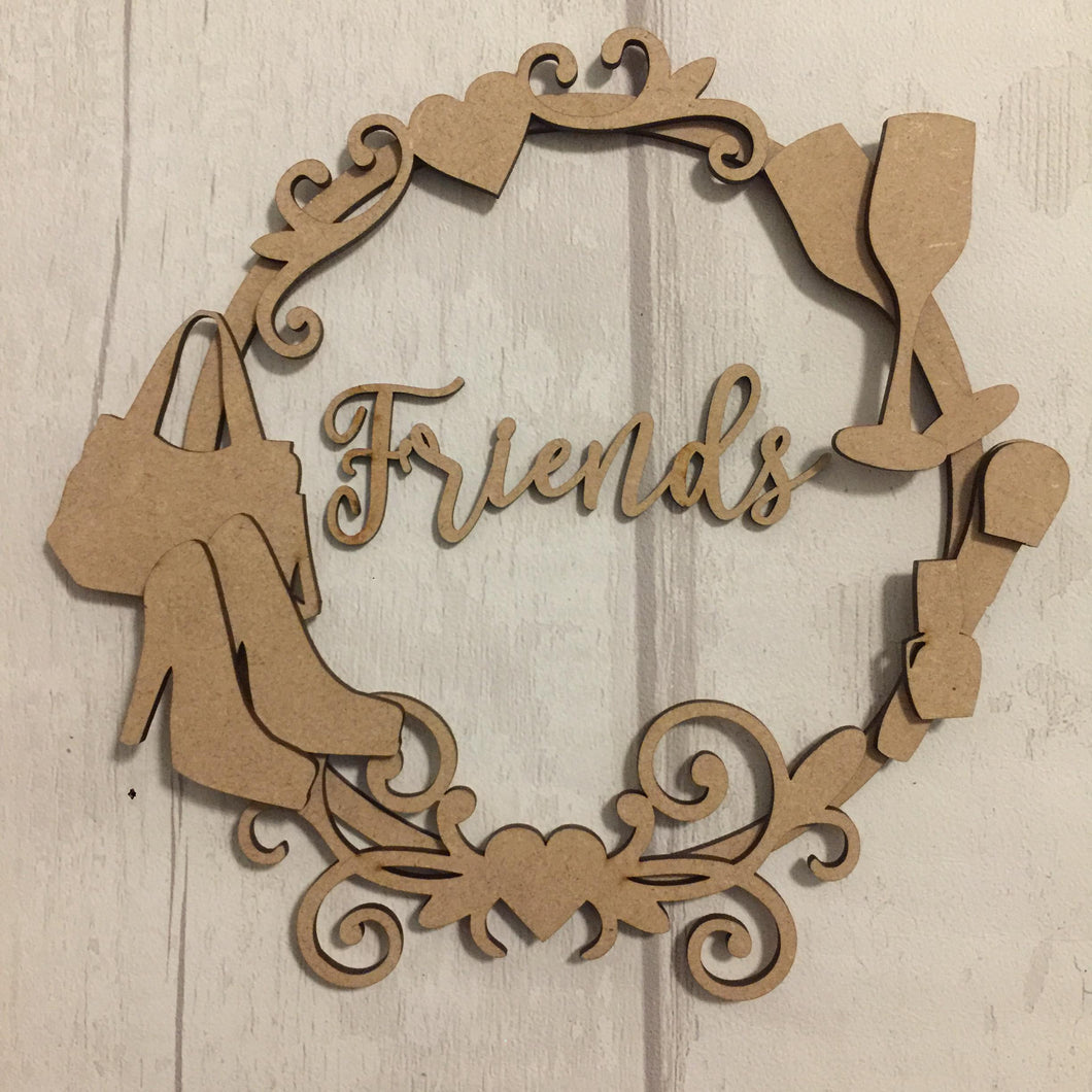 W024 - MDF Girly Wreath - Choice of Wording