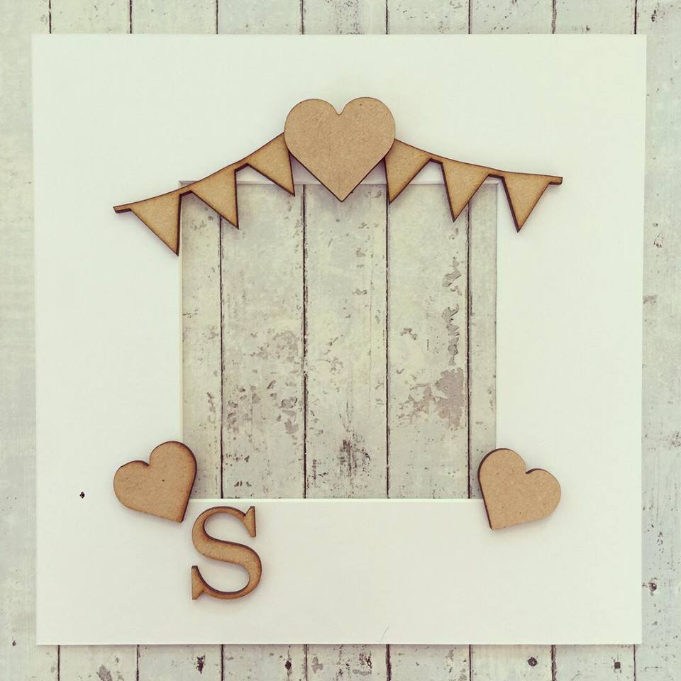 OL247 - MDF Bunting, Hearts and Initial Frame
