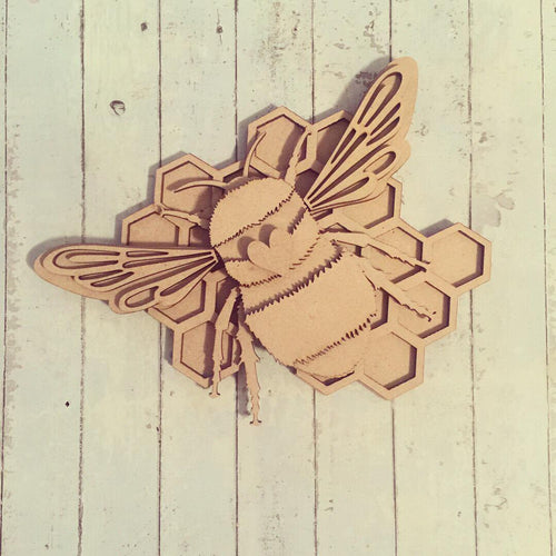 SJ025 - MDF Bumble Bee - Optional Honey Comb