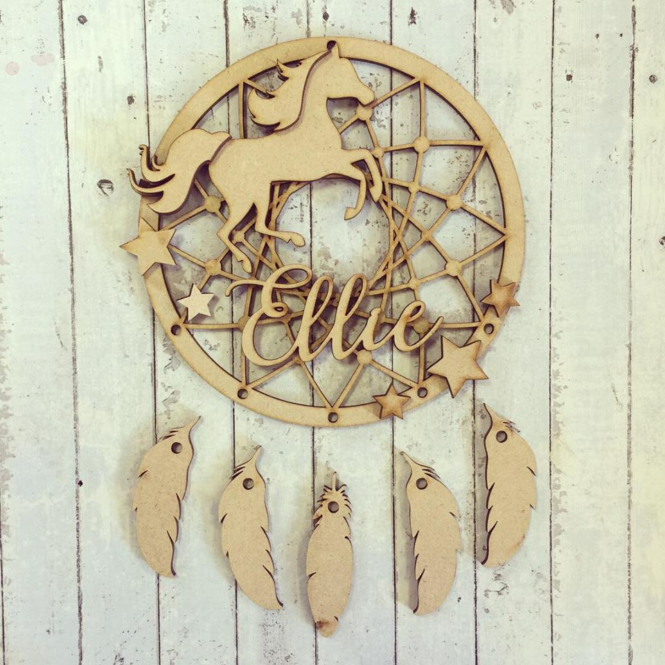 DC030 - MDF Horse Dream Catcher - with Initial, Initials, Name or Wording - Olifantjie - Wooden - MDF - Lasercut - Blank - Craft - Kit - Mixed Media - UK