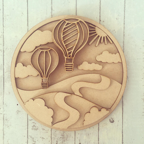SJ050 - MDF Hot Air Ballon Circle Plaque