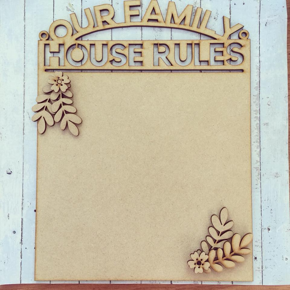 OL241 - MDF House Rules Flower Themed Hanging Plaque