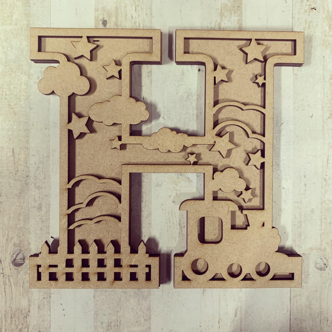 DL015 - MDF Train Themed Layered Letter