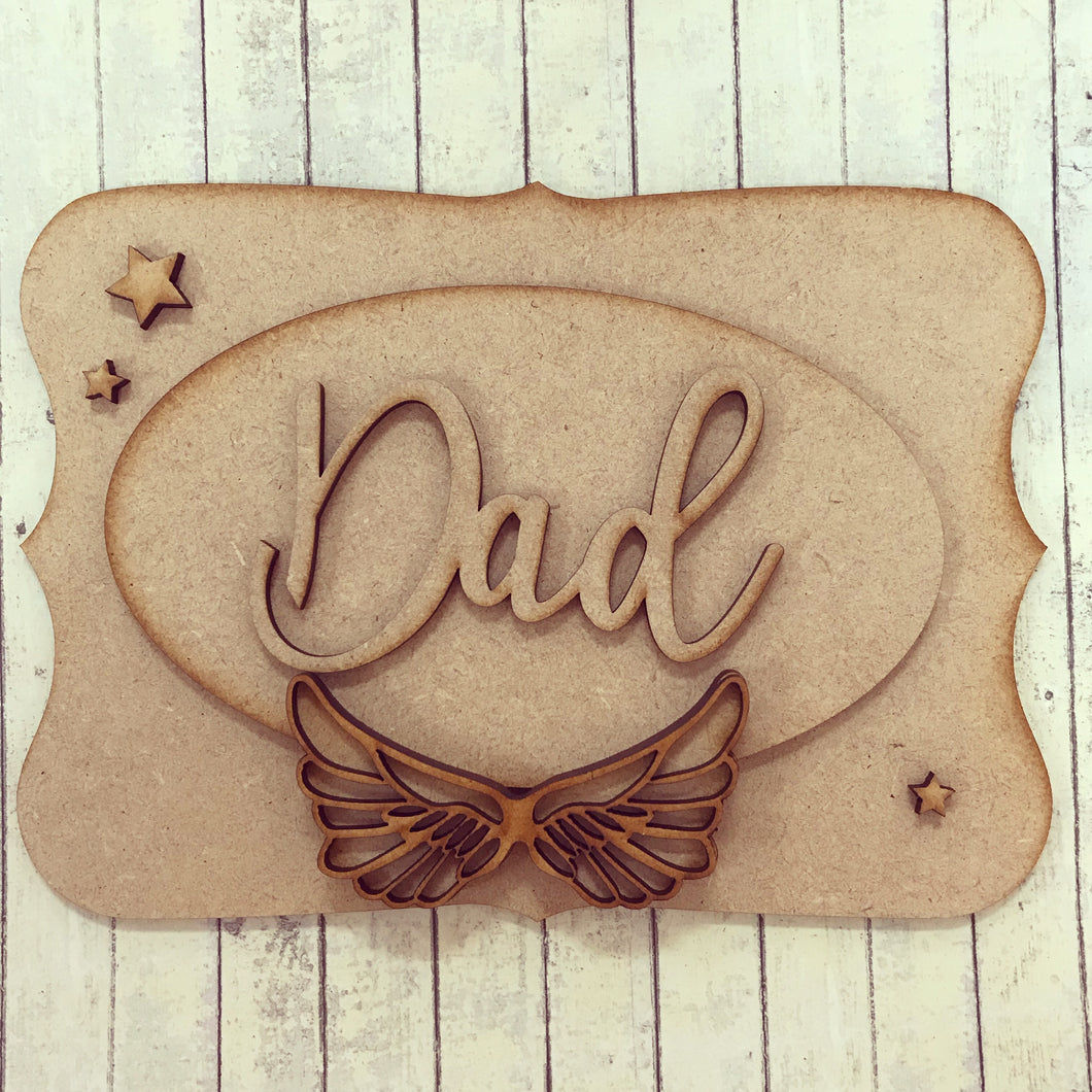 OP027 - MDF Angel Wing Themed Personalised Plaque