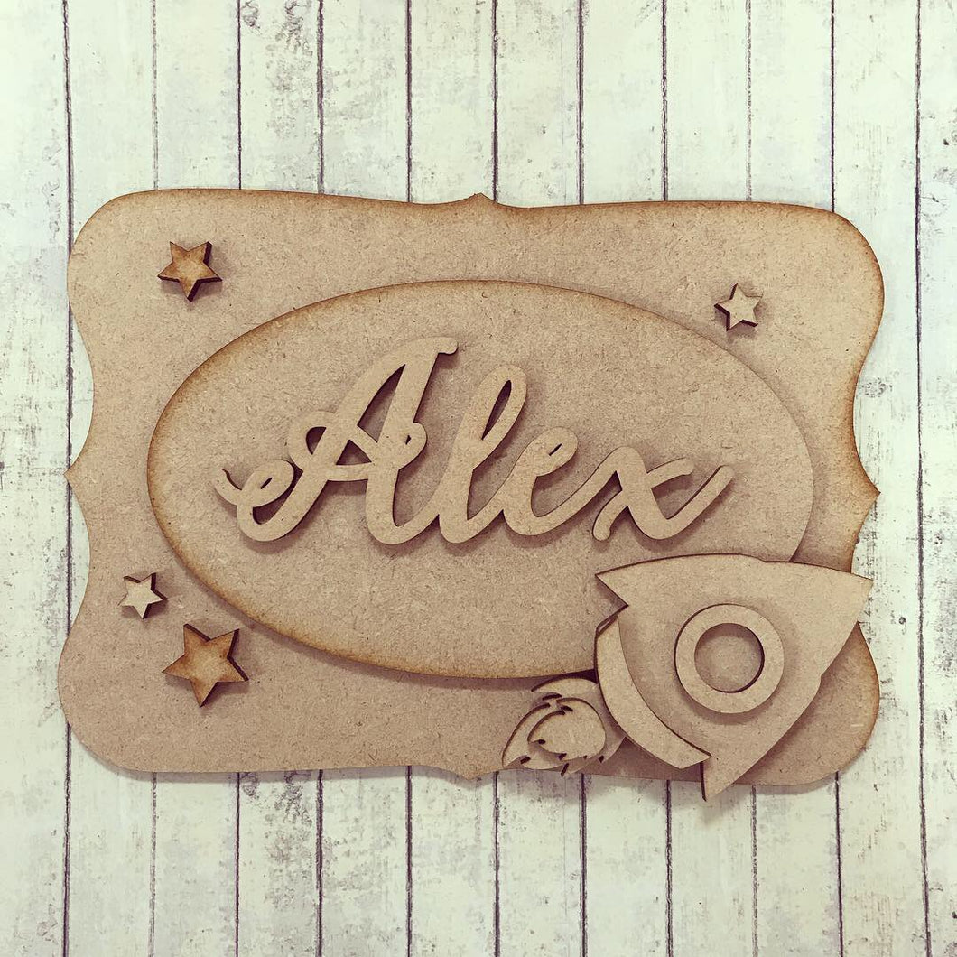 OP016 - MDF Space Rocket Themed Personalised Plaque - Olifantjie - Wooden - MDF - Lasercut - Blank - Craft - Kit - Mixed Media - UK