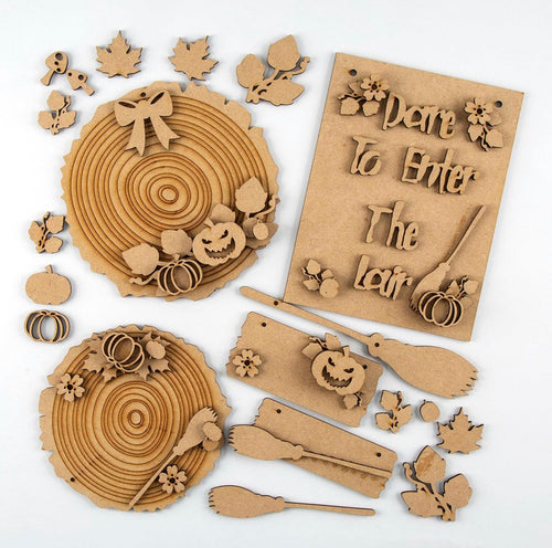 HC078 - MDF Olifantjie Spooky Autumn Plaques and Embellishments