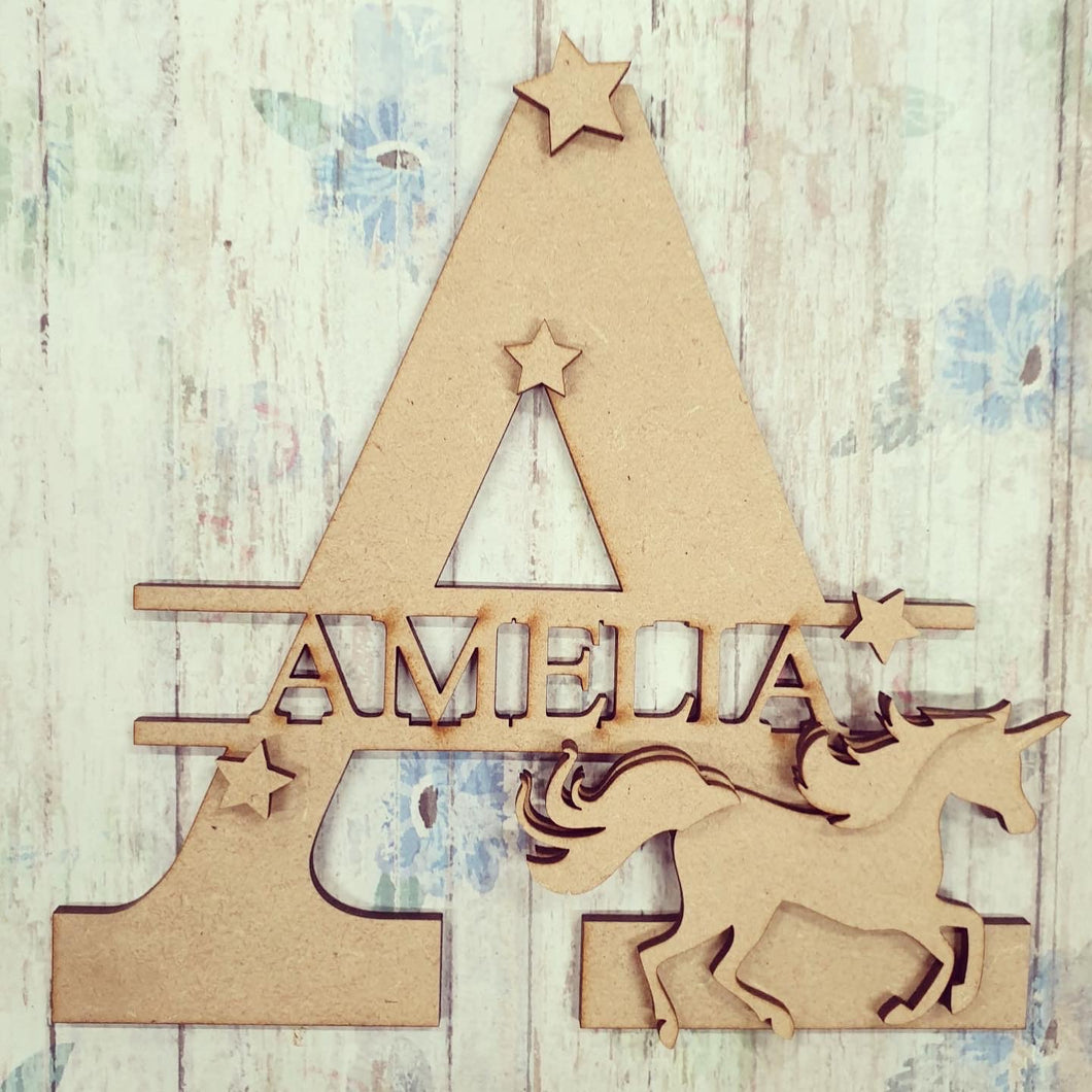 FL026 - Unicorn MDF Personalised Split Letter