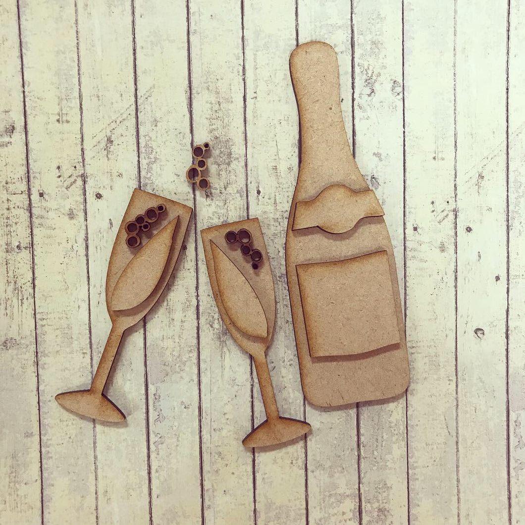 OL281 - MDF Prosecco / champagne set - Olifantjie - Wooden - MDF - Lasercut - Blank - Craft - Kit - Mixed Media - UK