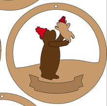 CH124 - MDF & Acrylic Bear Child & Parent Circle Bauble