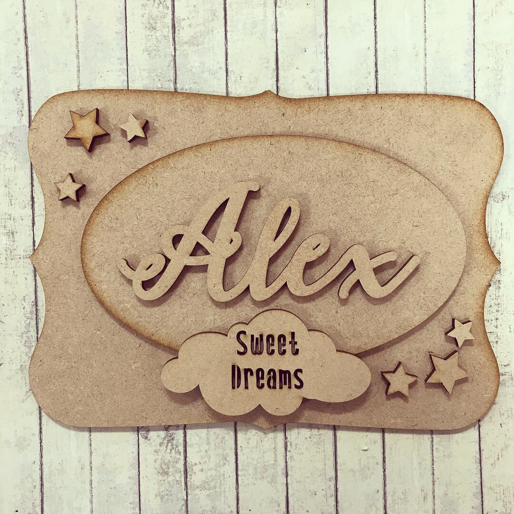OP017 - MDF Sweet Dreams Cloud Themed Personalised Plaque