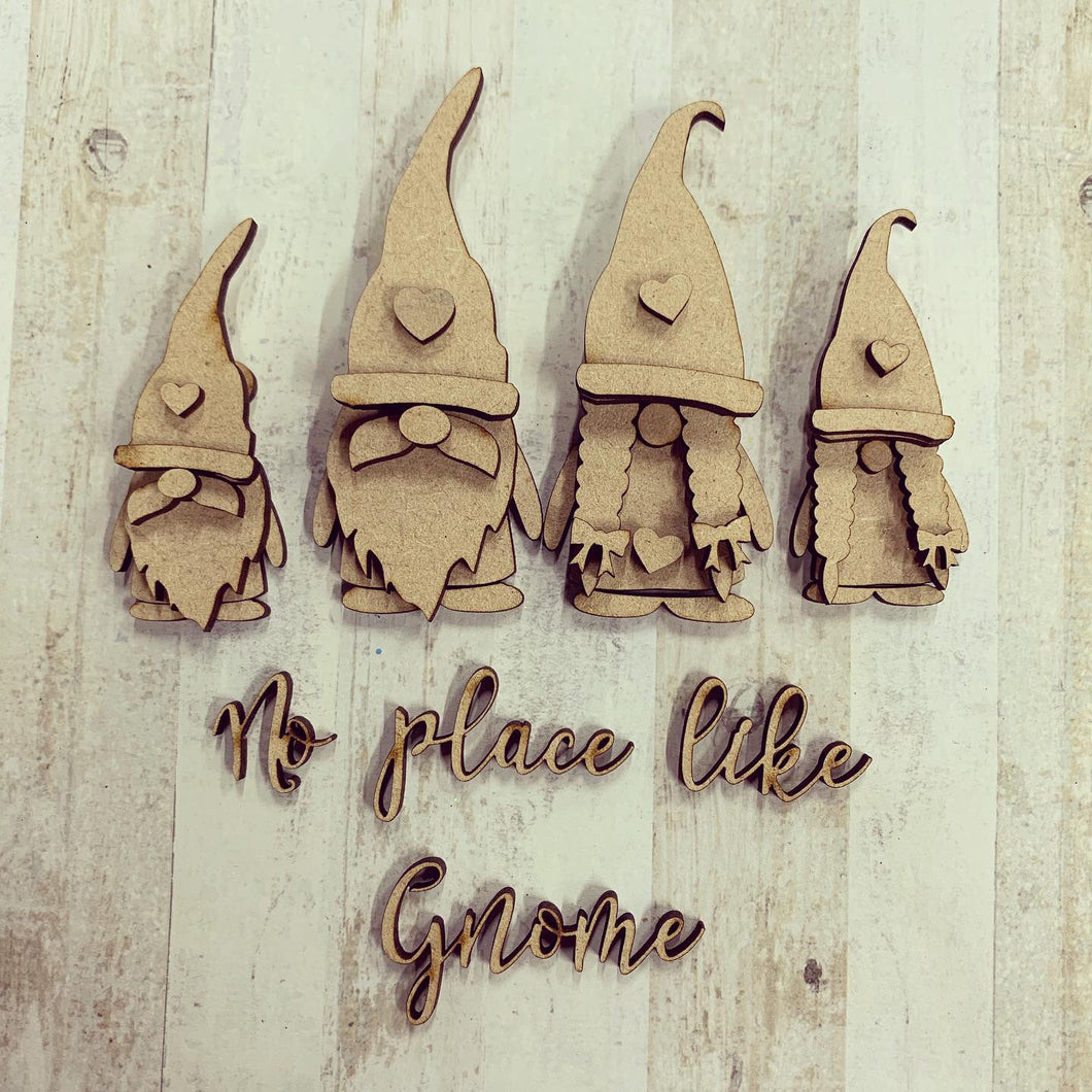 GN001 - MDF Gnome Family Set - No place like Gnome
