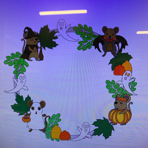 OL406 - MDF Large Halloween Mice And Ghost  Wreath