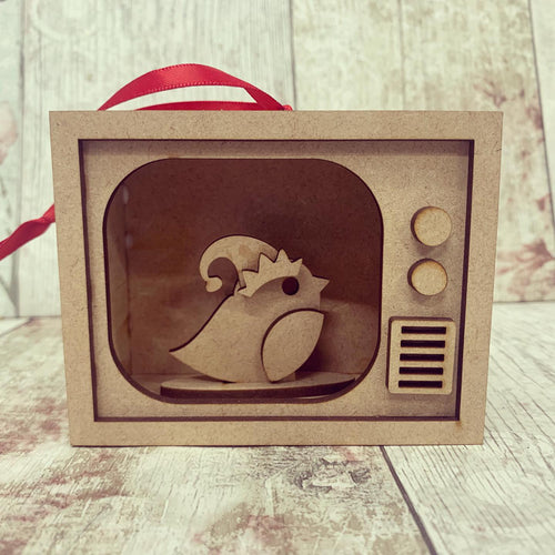 TM008 - MDF Mini TV Bauble Hanging - Robin