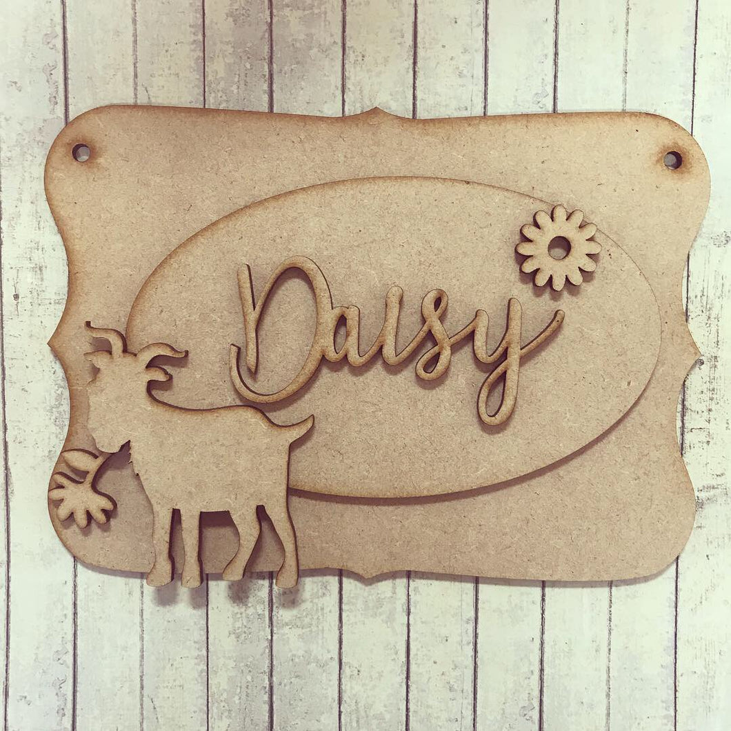 OP035 - MDF Goat Themed Personalised Plaque