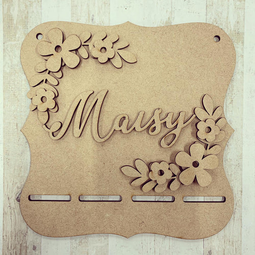 BH020 - MDF Flower Petal Themed - Medal / Bow Holder - Personalised & Choice of Shape