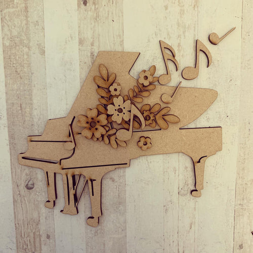 OL298 - MDF Floral Grand Piano Craft Kit