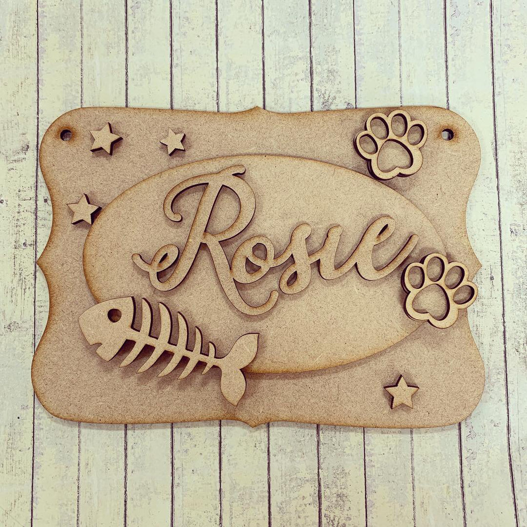 OP049 - MDF Fish Bone Cat Themed Personalised Plaque