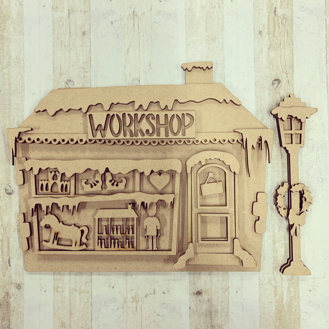SJ226 -  MDF Sarah Jane Workshop /Toyshop House - Olifantjie - Wooden - MDF - Lasercut - Blank - Craft - Kit - Mixed Media - UK