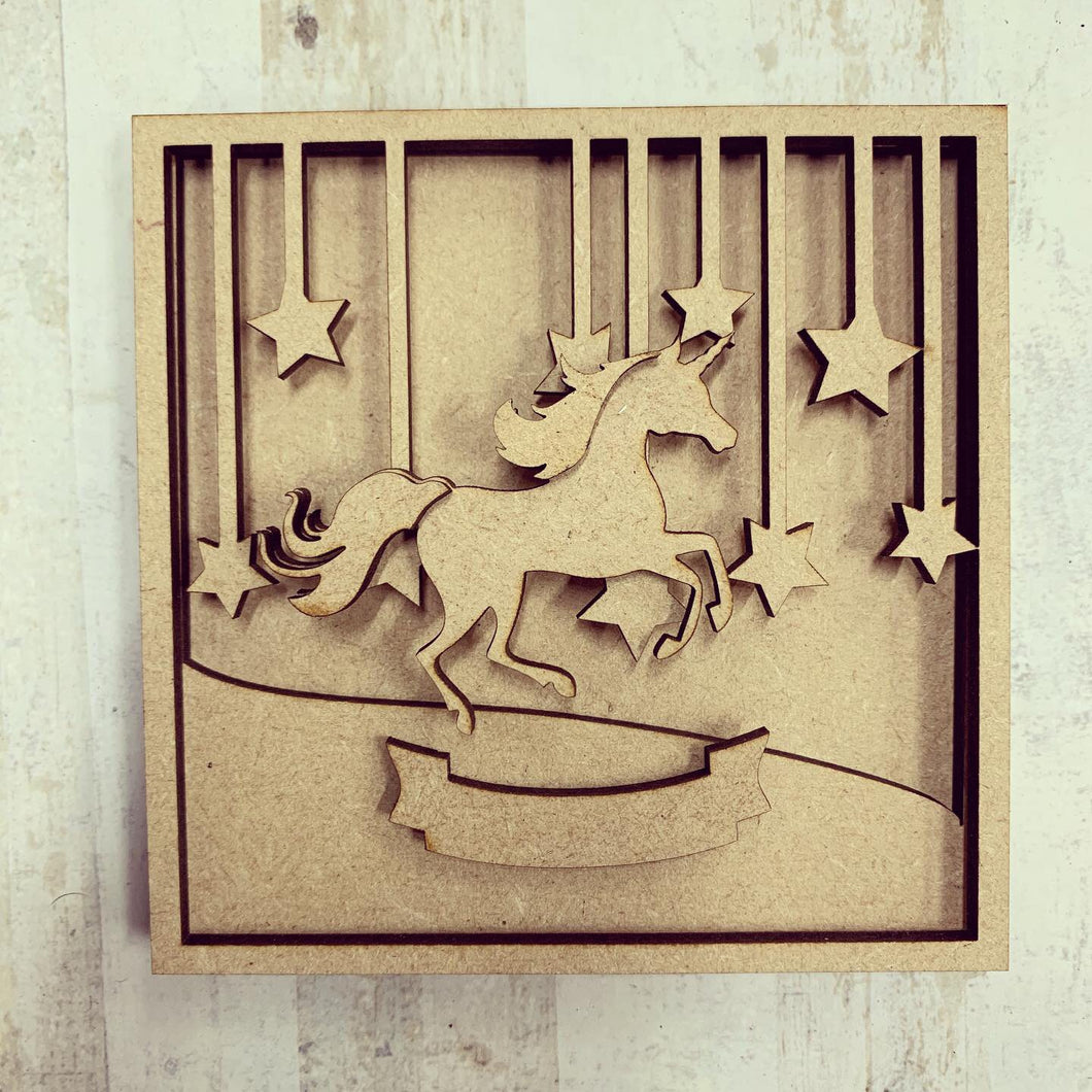 LH010 - MDF Unicorn Frame Square 3D Plaque - Two Sizes