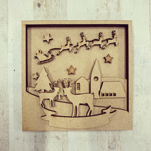 LH005 - MDF Reindeer scene  Frame Square 3D Plaque - Two Sizes