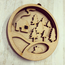 SJ273 - MDF Sarah Jane Multi Layered Woodland House Scene Bauble Hanging Decoration